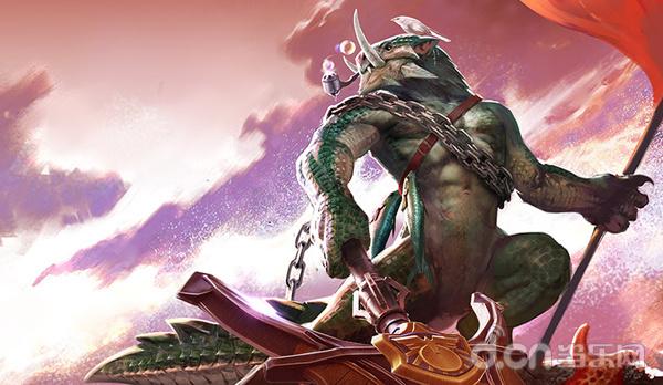 全新的英雄鱼人费恩霸气登场,身缚铁链,手持重锚
